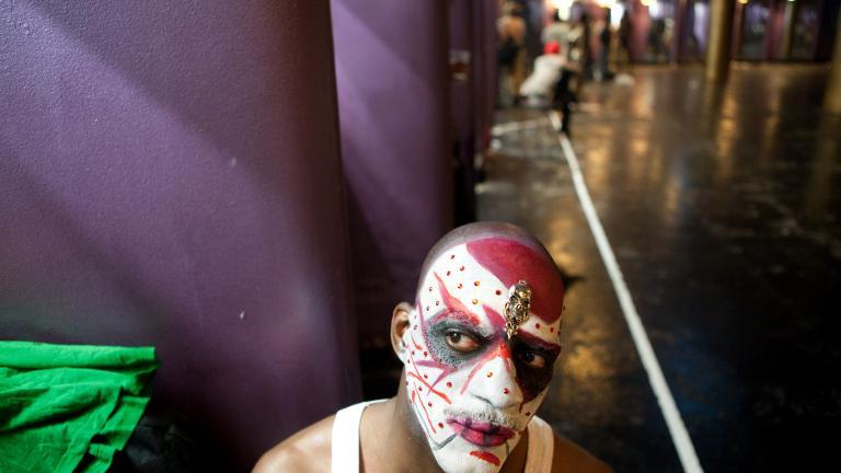 Getting ready, Latex Ball, Manhattan, 2008. Photograph by Gerard H. Gaskin.