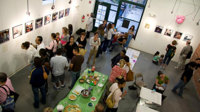 In August 2008, the mothers in the parenting group, other participants in Roca, and members of the larger Boston community came together for the exhibit opening at the Gallery at Spencer Lofts in Chesea. The young mothers collaborated on the documentary project and helped to hang the exhibit.