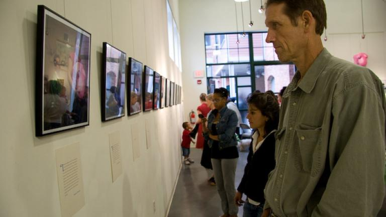 A local artist enjoys the exhibit