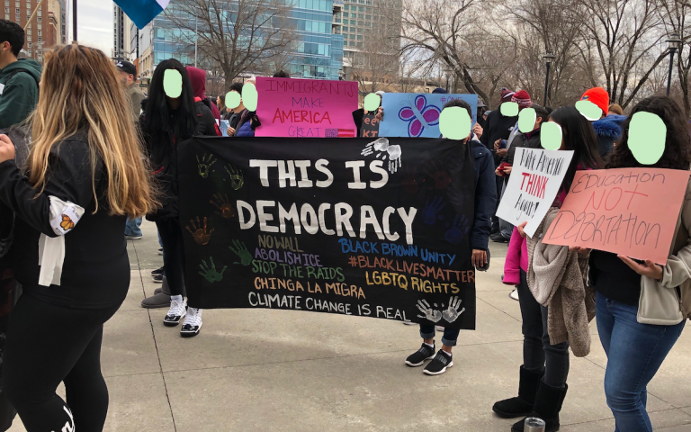 Demonstrators at the annual Moral March, Raleigh, North Carolina, February 2019 (faces have been obscured to protect identities)