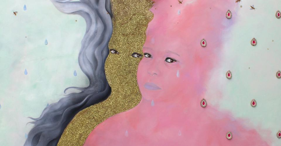 """""""Liminal Being(s)"""" by Saba Taj. Three figures: one of gray wisps, gold glitter, and pink haze. Painting. Multimedia."""