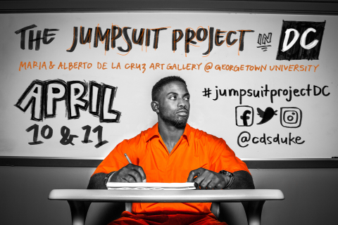 Graphic featuring Sherrill in an orange jumpsuit sitting in front of a whiteboard