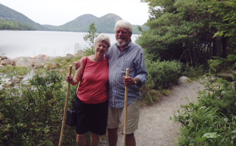 Lorna and Bill Chafe at Acadia National Park in Maine, July 2014. Photograph by Chris Chafe.