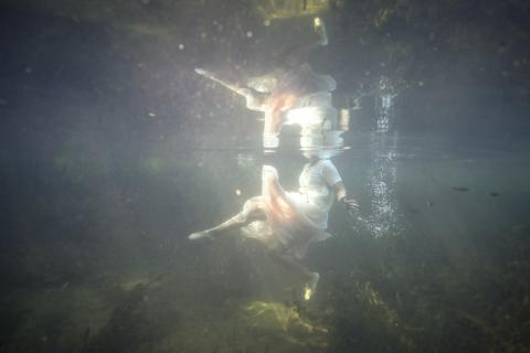 Image of a girl's body underwater