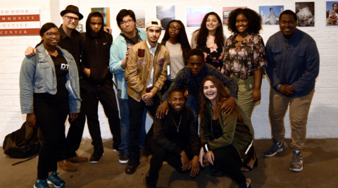 Lauren Henschel with co-teacher Todd Drake and students at the exhibition of their final work at Red Hook Labs