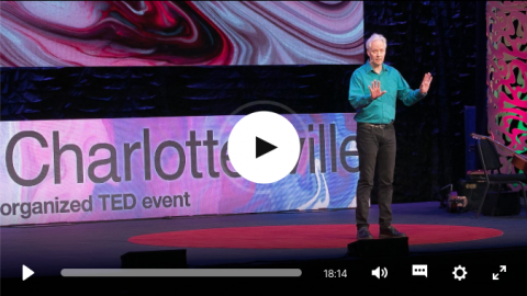 A screenshot of the video showing John Biewen onstage at TedX Charlottesville