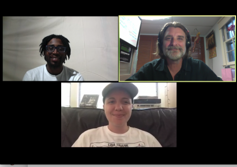 A screenshot of the class Zoom call featuring Anthony Patterson, Rosa Tobin, and Randy Benson.