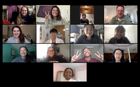 A screenshot of a Zoom call for the last class of the semester, featuring CDS students and Chris Sims