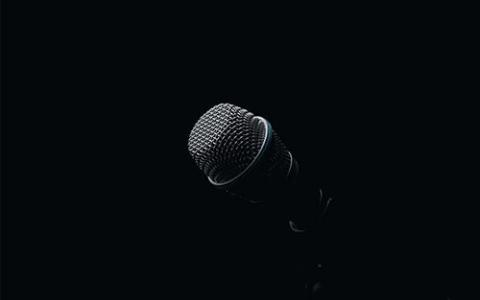 A close-up photo of a microphone.