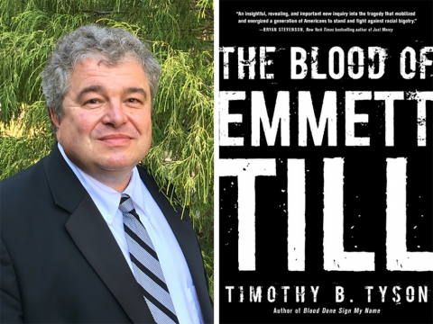A diptych: on the left, a headshot of Tim Tyson, on the right, the cover for his book The Blood of Emmett Till.
