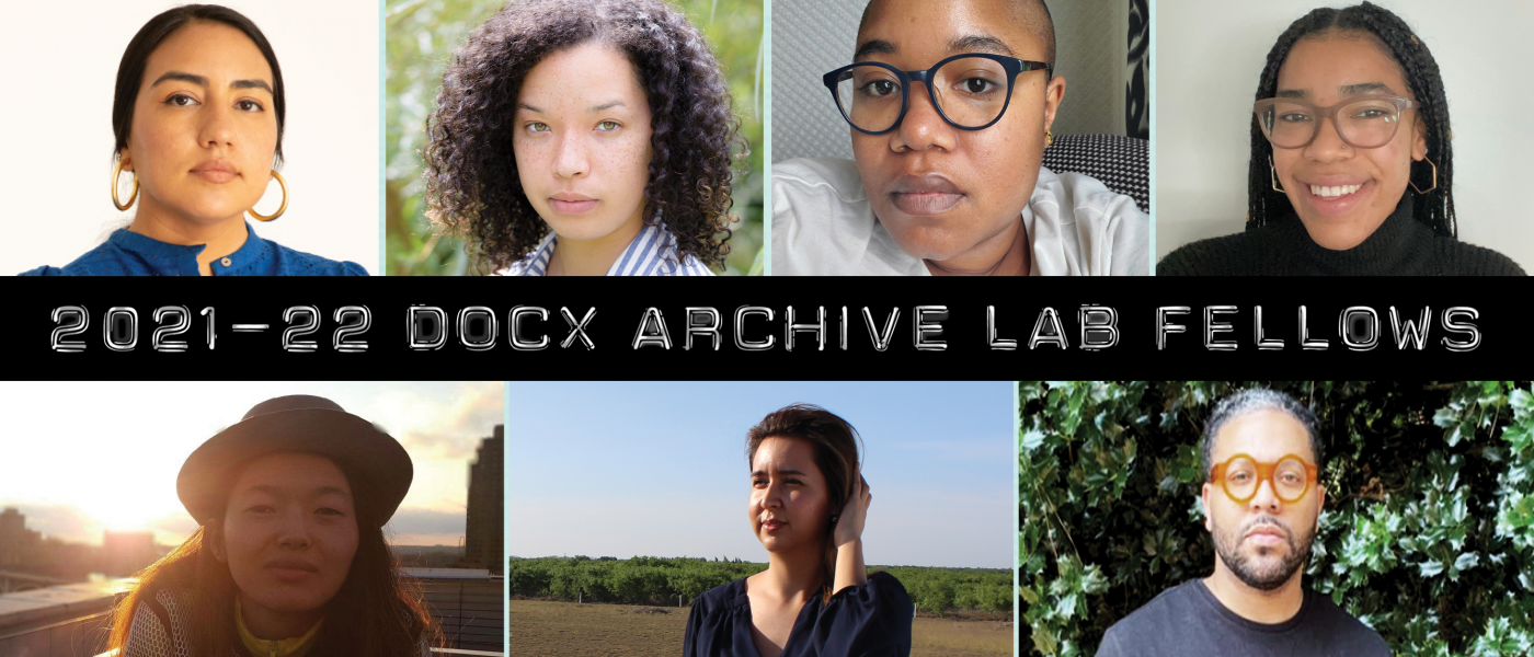 """Header with fellows' headshots surrounding a bar of text: """"2021–22 DocX Archive Lab Fellows""""."""