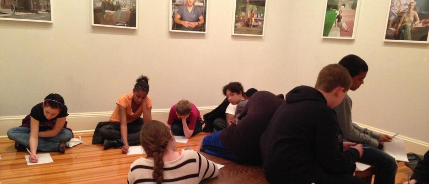Seventh-graders invited by CDS exhibitions director Courtney Reid-Eaton to Myra Greene's My White Friends exhibit, 2014. Photogr