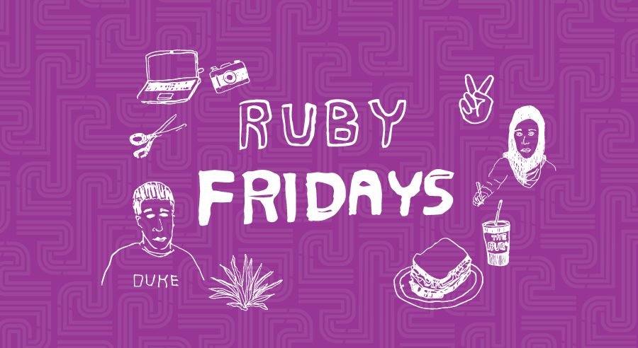 "A hand-drawn graphic that has doodles of objects circled around the words ""Ruby Fridays"""