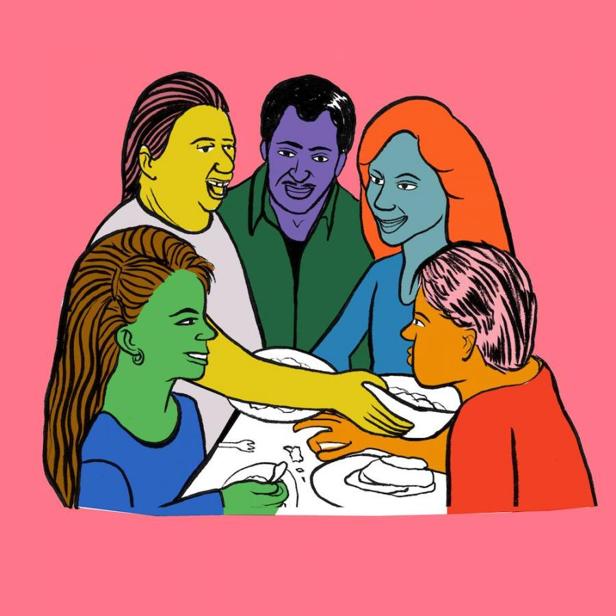 Illustration of people gathered around a table by distance certificate student Hillary Rea