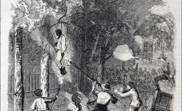 A lynching on Clarkson Street, New York City, during the Draft Riots of 1863.