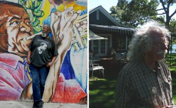 Composite image: Left: Kalamu ya Salaam. Right: David Slater at John Steinbeck's former home