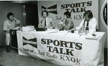 Photo: Radio talk-show hosts during a KXOK broadcast in the late 1980s.