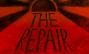 Scene On Radio: Season 5. The Repair. A black inky sun sits on a corroded red horizon.