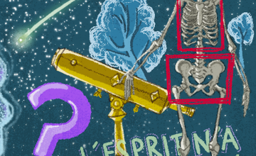 An illustration of objects from the episode: A skeleton, telescope, trees, and a question mark.