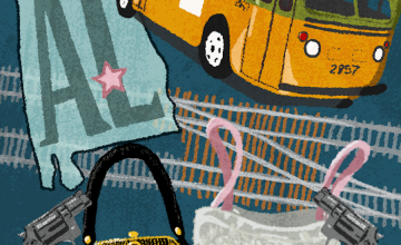 An illustration featuring a handgun, a purse, a bus, and an outline of the state of Alabama